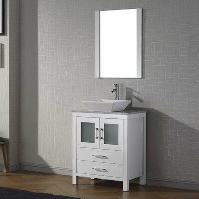 Cartagena 25 Single Bathroom Vanity Set with White Marble Top and Mirror Base Finish: White