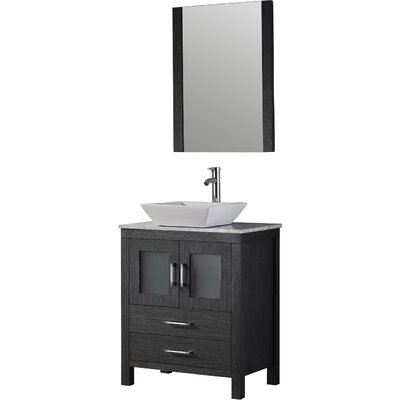 Frausto 25 Single Bathroom Vanity Set with White Marble Top and Mirror Base Finish: Zebra Gray