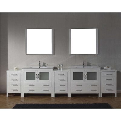Cartagena 117 Double Bathroom Vanity Set with Ceramic Top and Mirror Base Finish: White