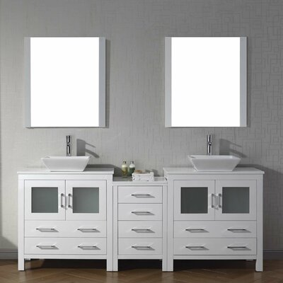 Cartagena 83 Double Bathroom Vanity Set with White Stone Top and Mirror Base Finish: White