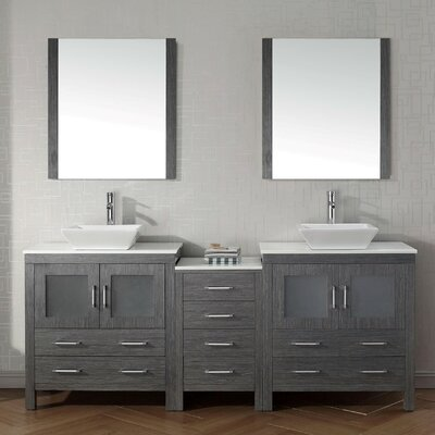 Frausto 83 Double Bathroom Vanity Set with White Stone Top and Mirror Base Finish: Zebra Gray