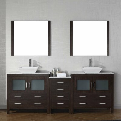 Frausto 79 Double Bathroom Vanity Set with White Marble Top and Mirror Base Finish: Espresso