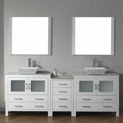 Cartagena 79 Double Bathroom Vanity Set with White Marble Top and Mirror Base Finish: White
