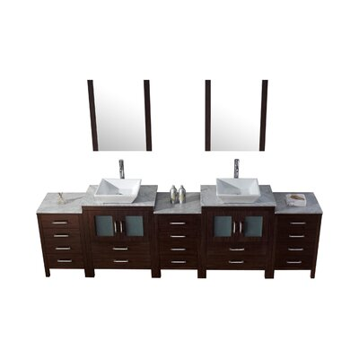 Frausto 109 Double Bathroom Vanity Set with White Marble Top and Mirror Base Finish: Espresso, Faucet Finish: Brushed Nickel
