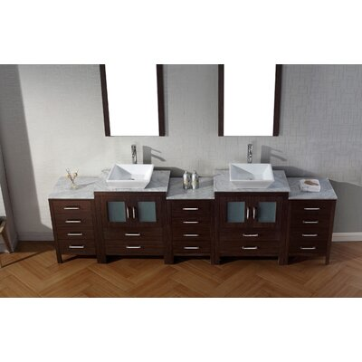 Cartagena 109 Double Bathroom Vanity Set with White Marble Top and Mirror Base Finish: Espresso, Faucet Finish: Polished Chrome