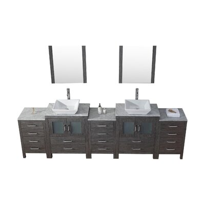 Frausto 109 Double Bathroom Vanity Set with White Marble Top and Mirror Base Finish: Zebra Gray, Faucet Finish: Brushed Nickel