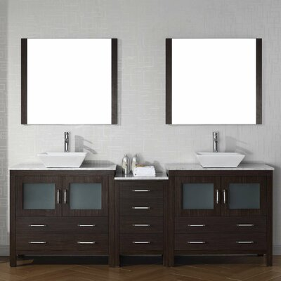Cartagena 83 Double Bathroom Vanity Set with White Marble Top and Mirror Base Finish: Espresso