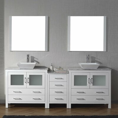 Cartagena 83 Double Bathroom Vanity Set with White Marble Top and Mirror Base Finish: White