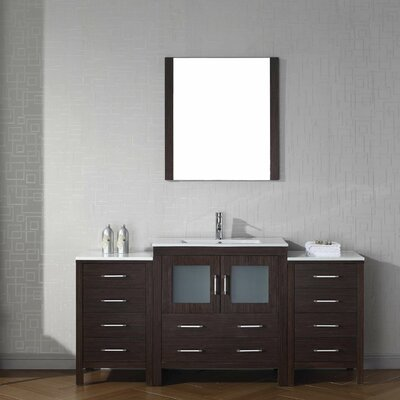 Cartagena 68 Single Bathroom Vanity Set with Ceramic Top and Mirror Base Finish: Espresso