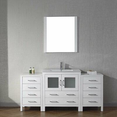 Frausto 68 Single Bathroom Vanity Set with Ceramic Top and Mirror Base Finish: White
