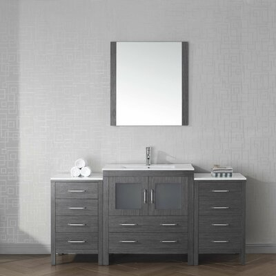 Frausto 68 Single Bathroom Vanity Set with Ceramic Top and Mirror Base Finish: Zebra Gray