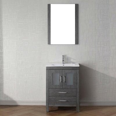 Cartagena 24 Single Bathroom Vanity Set with Ceramic Top and Mirror Base Finish: Zebra Gray