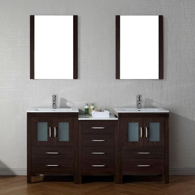Frausto 66 Double Bathroom Vanity Set with Ceramic Top and Mirror Base Finish: Espresso