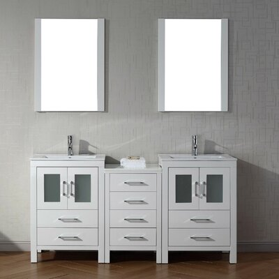 Cartagena 66 Double Bathroom Vanity Set with Ceramic Top and Mirror Base Finish: White