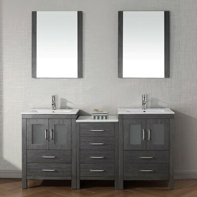 Frausto 66 Double Bathroom Vanity Set with Ceramic Top and Mirror Base Finish: Zebra Gray