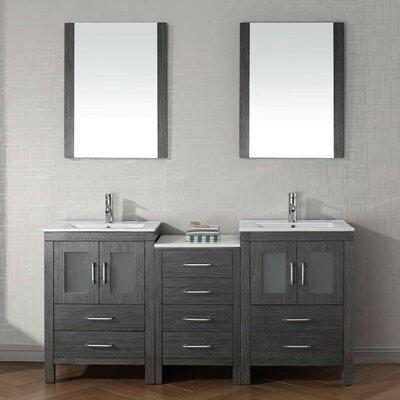 Cartagena 66 Double Bathroom Vanity Set with Ceramic Top and Mirror Base Finish: Zebra Gray