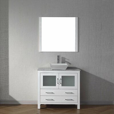 Frausto 30 Single Bathroom Vanity Set with White Marble Top and Mirror Base Finish: White