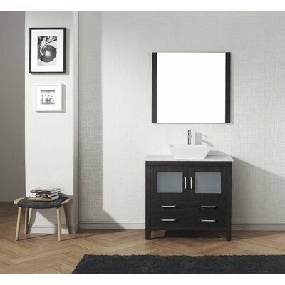 Frausto 30 Single Bathroom Vanity Set with White Marble Top and Mirror Base Finish: Zebra Gray