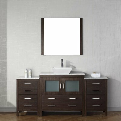 Frausto 68 Single Bathroom Vanity Set with White Marble Top Base Finish: Espresso