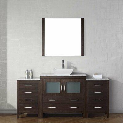 Cartagena 68 Single Bathroom Vanity Set with White Marble Top Base Finish: Espresso