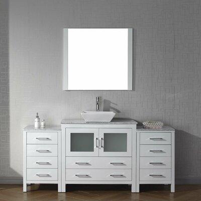 Cartagena 68 Single Bathroom Vanity Set with White Marble Top Base Finish: White