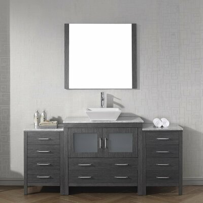 Cartagena 68 Single Bathroom Vanity Set with White Marble Top Base Finish: Zebra Gray