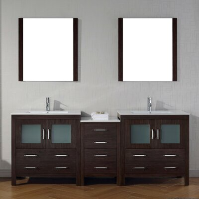 Frausto 82 Double Bathroom Vanity Set with Ceramic Top and Mirror Base Finish: Espresso
