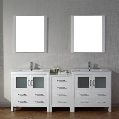 Cartagena 82 Double Bathroom Vanity Set with Ceramic Top and Mirror Base Finish: White
