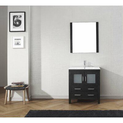 Frausto 30 Single Bathroom Vanity Set with Ceramic Top and Mirror Base Finish: Zebra Gray