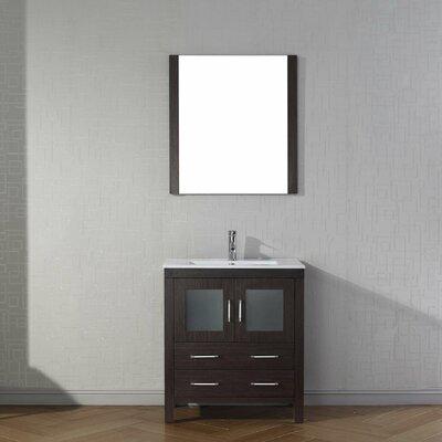 Cartagena 30 Single Bathroom Vanity Set with Ceramic Top and Mirror Base Finish: Espresso