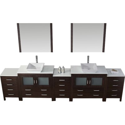Frausto 117 Double Bathroom Vanity Set with White Stone Top and Mirror Base Finish: Espresso