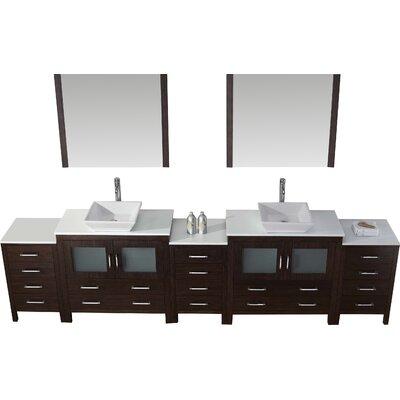Cartagena 117 Double Bathroom Vanity Set with White Stone Top and Mirror Base Finish: Espresso