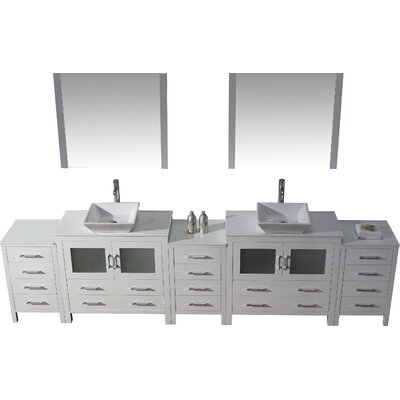 Cartagena 117 Double Bathroom Vanity Set with White Stone Top and Mirror Base Finish: White