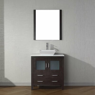 Cartagena 32 Single Bathroom Vanity Set with White Stone Top and Mirror Base Finish: Espresso
