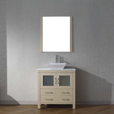 Cartagena 32 Single Bathroom Vanity Set with White Stone Top and Mirror Base Finish: Light Oak