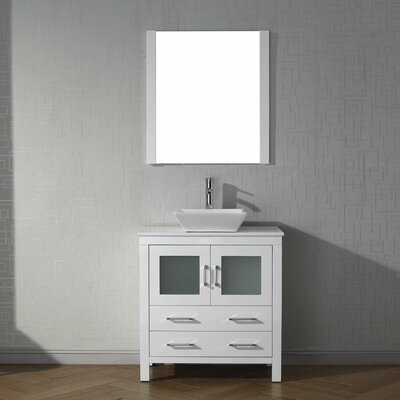 Frausto 32 Single Bathroom Vanity Set with White Stone Top and Mirror Base Finish: White