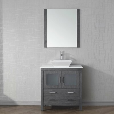 Cartagena 32 Single Bathroom Vanity Set with White Stone Top and Mirror Base Finish: Zebra Gray