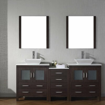 Cartagena 79 Double Bathroom Vanity Set with White Stone Top and Mirror Base Finish: Espresso