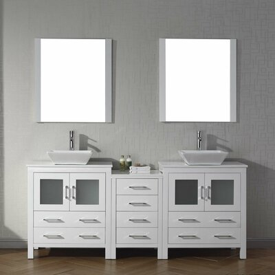 Cartagena 79 Double Bathroom Vanity Set with White Stone Top and Mirror Base Finish: White
