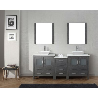Cartagena 79 Double Bathroom Vanity Set with White Stone Top and Mirror Base Finish: Zebra Gray