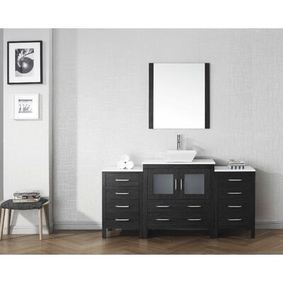 Cartagena 68 Single Bathroom Vanity Set with White Stone Top and Mirror Base Finish: Zebra Gray