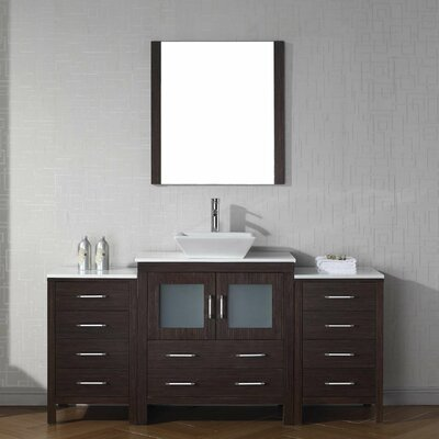 Cartagena 68 Single Bathroom Vanity Set with White Stone Top and Mirror Base Finish: Espresso