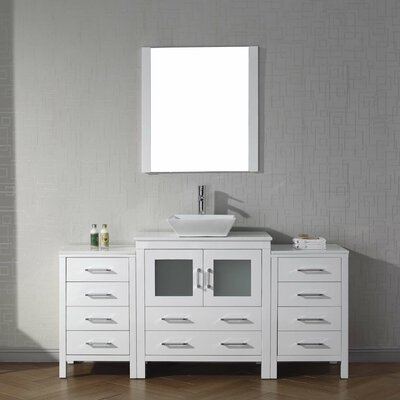 Cartagena 68 Single Bathroom Vanity Set with White Stone Top and Mirror Base Finish: White