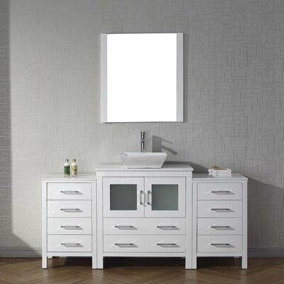 Frausto 68 Single Bathroom Vanity Set with White Stone Top and Mirror Base Finish: White