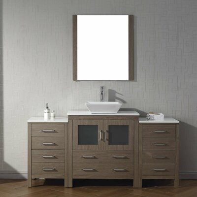 Frausto 68 Single Bathroom Vanity Set with White Stone Top and Mirror Base Finish: Dark Oak
