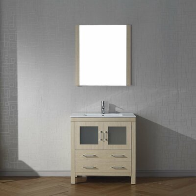 Frausto 32 Single Bathroom Vanity Set with Mirror Base Finish: Light Oak