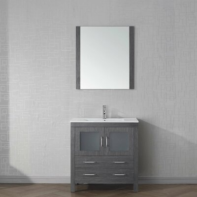 Cartagena 32 Single Bathroom Vanity Set with Mirror Base Finish: Zebra Gray