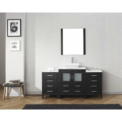 Cartagena 66 Single Bathroom Vanity Set with White Stone Top and Mirror Base Finish: Zebra Gray