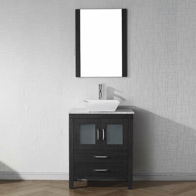 Cartagena 28 Single Bathroom Vanity Set with White Marble Top and Mirror Base Finish: Zebra Gray, Faucet Finish: Brushed Nickel