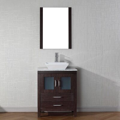 Frausto 28 Single Bathroom Vanity Set with White Marble Top and Mirror Base Finish: Espresso, Faucet Finish: Brushed Nickel